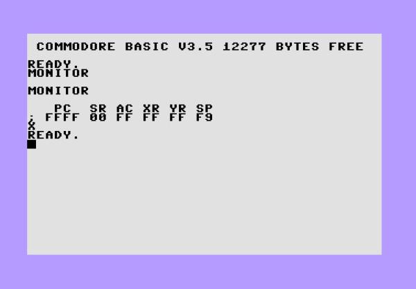 """Comando """"Monitor"""" sul Comodore16: vengono mostrati i valori del Program Counter (PC), Status Register (SR), Accumulatore (AC), Registri X e Y (XR, XY), Stack Pointer (SP). Premendo X e invio si esce dalla modalità Monitor"""