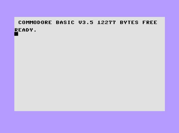 Schermata di avvio del Commodore 16. Dei 16kB di RAM a disposizione, poco meno di 12kB (12277B) erano a disposizione dell'utente, dal momento che nei rimanenti 4kB di RAM sono allocati i buffers per gli IO, la mappa dei registri e altro